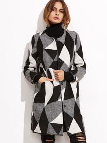 Contrast Geo Pattern Collarless Tweed Coat