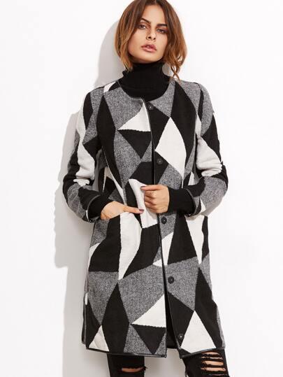 Contrast Geo Pattern Collarless Tweed Coat