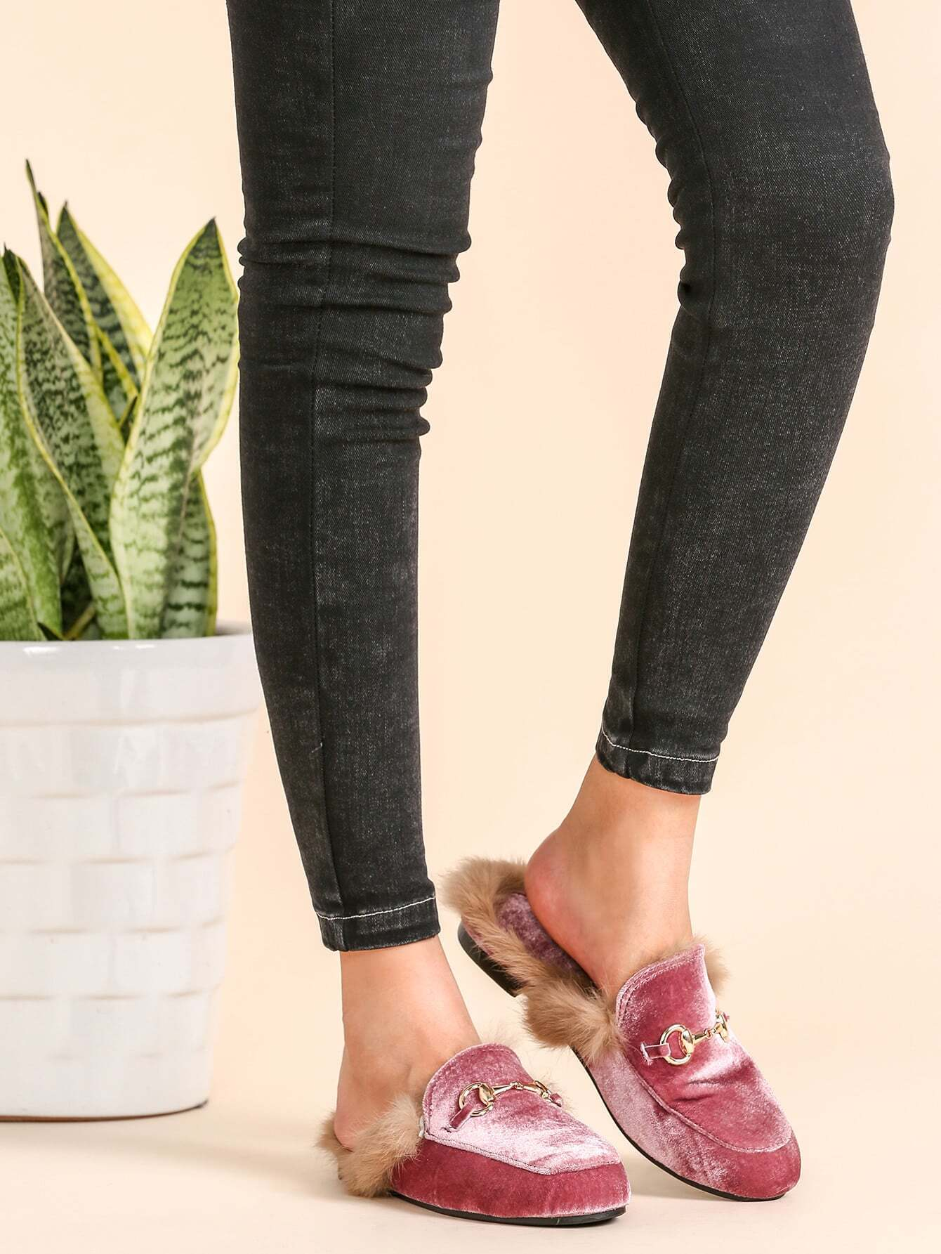Image of Pink Velvet Fur Lined Loafer Slippers