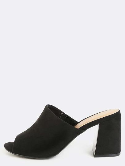 Faux Suede Block Heel Mules BLACK
