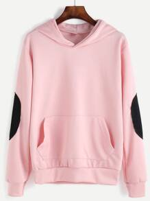 Pink Elbow Patch Hooded Sweatshirt