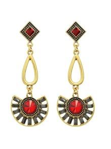 Red Vintage Style Rhinestone Long Drop Earrings
