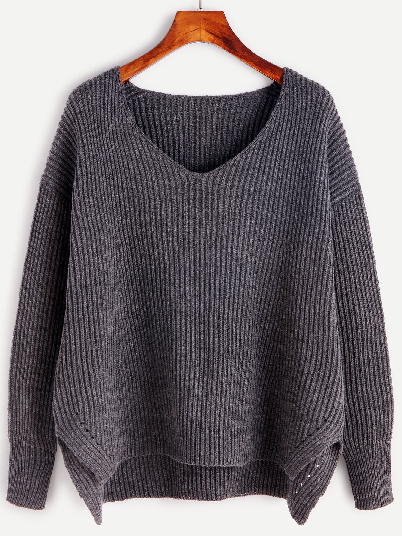 Grey Ribbed Knit Slit High Low Sweater sweater161011401