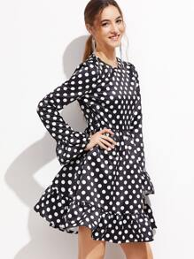 Black Polka Dot Print Ruffle Trim Skater Dress