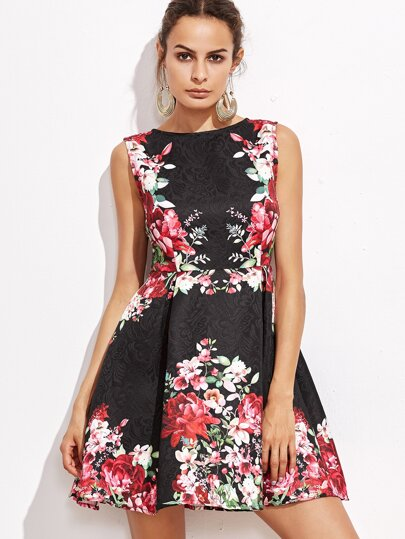 Black Flower Print Jacquard Skater Dress
