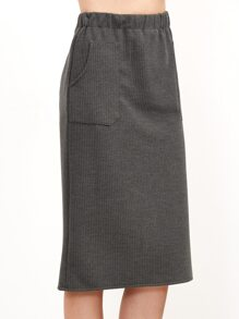 Grey Elastic Waist Slit Back Skirt