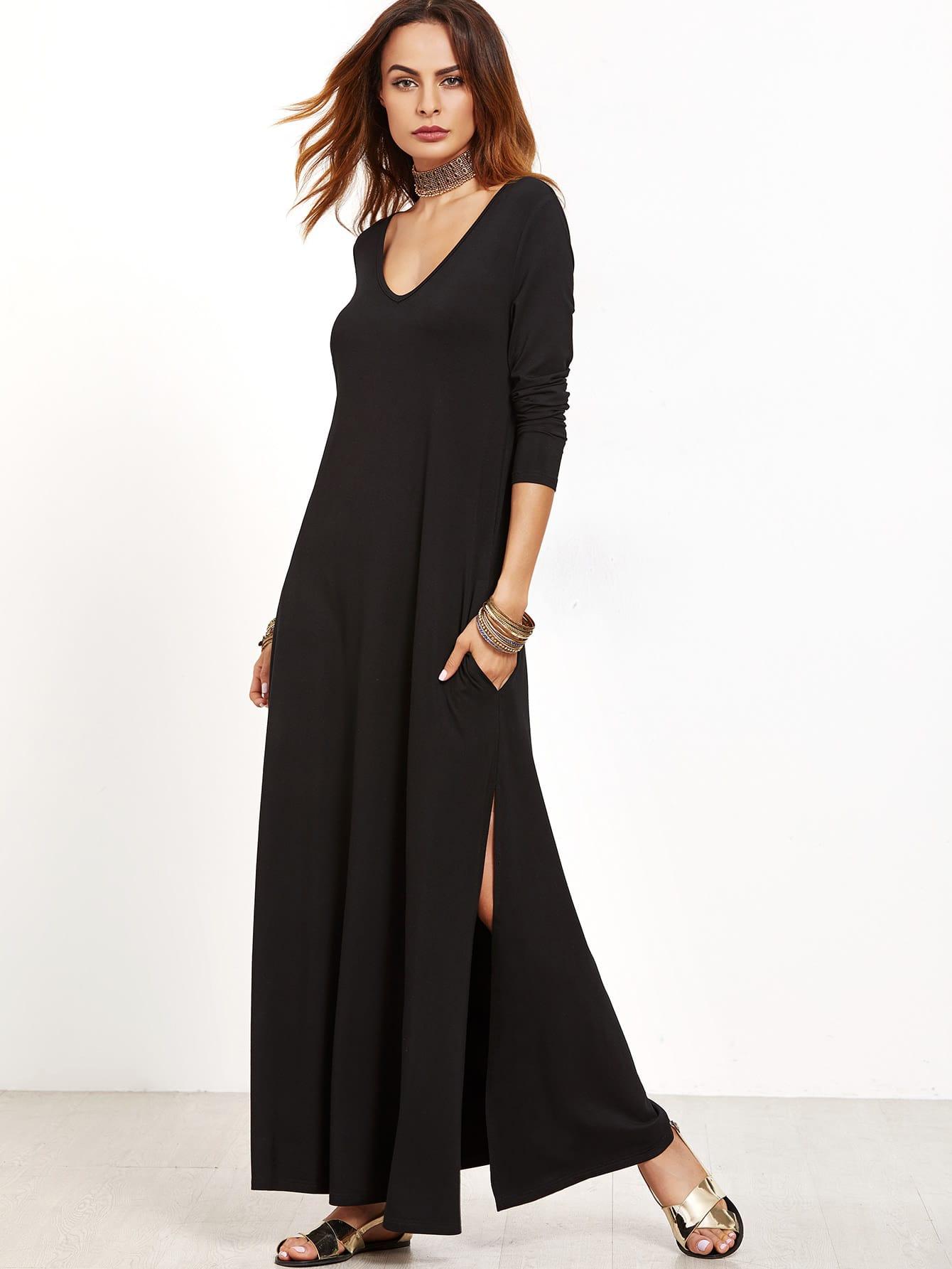 Black Deep V Neck Side Slit Maxi Dress dress161021709