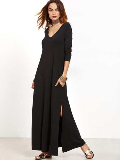 Black Deep V Neck Side Slit Maxi Dress