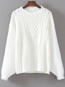 White Cable Knit Drop Shoulder Mohair Sweater
