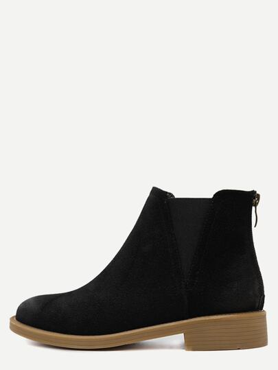 Black Back Zipper Distressed Chelsea Boots