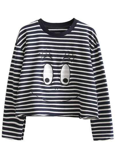 Navy Striped Eye Embroidered Sweatshirt