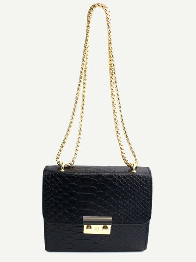 Mini Black Crocodile Embossed PU Flap Chain Bag