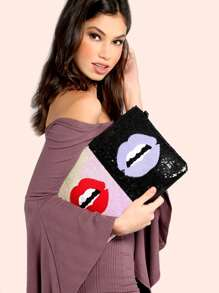 Sequin Kiss Clutch Purse MULTI