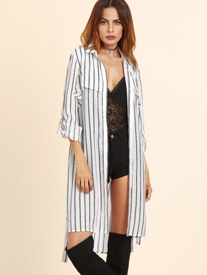 White Vertical Striped Rain Shield Back Wrap Coat