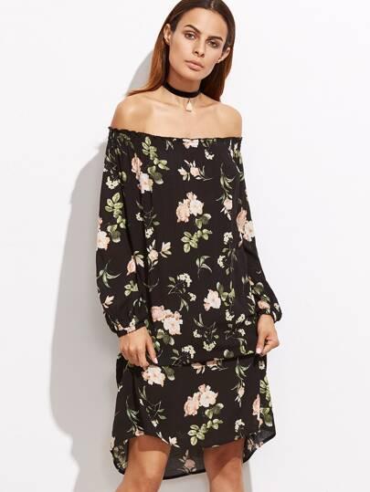Kleid mit Blumen Laterne Ärmel Schulterfrei-schwarz