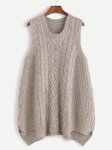 Gilet pull tricoté en câble - kaki
