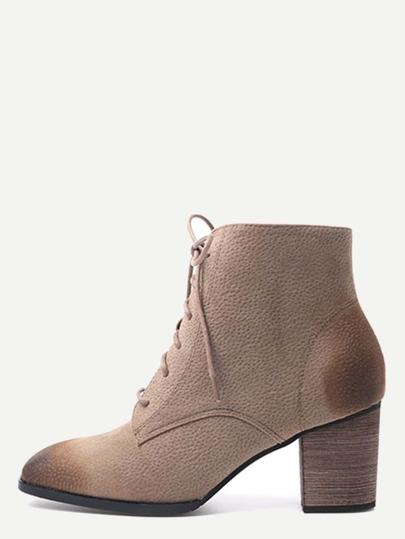 Khaki Nubuck Leather Cork Heel Lace Up Booties
