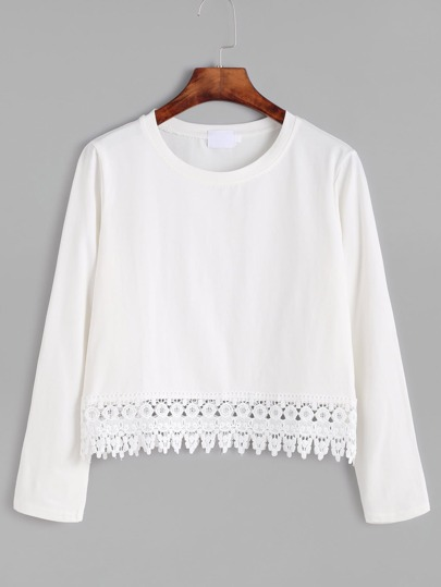 Kontrast Spitze Saum T-shirt-weiß