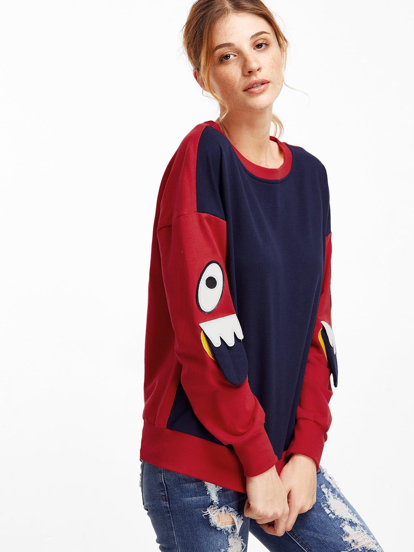 Color Block Eye Patch Cute SweatshirtColor Block Eye Patch Cute Sweatshirt<br><br>color: Multicolor<br>size: L,M,S,XS