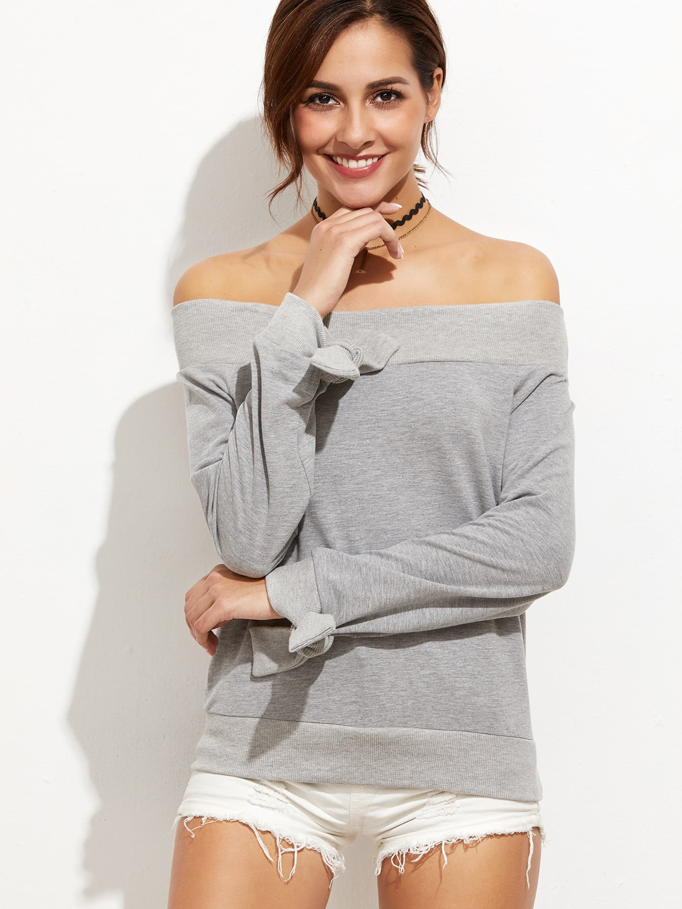 Фото Heather Grey Off The Shoulder Tie Sleeve Sweatshirt. Купить с доставкой