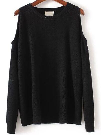 Black Round Neck Open Shoulder Knitwear