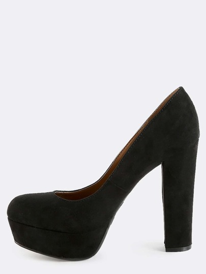 Round Toe Platform Pumps BLACK