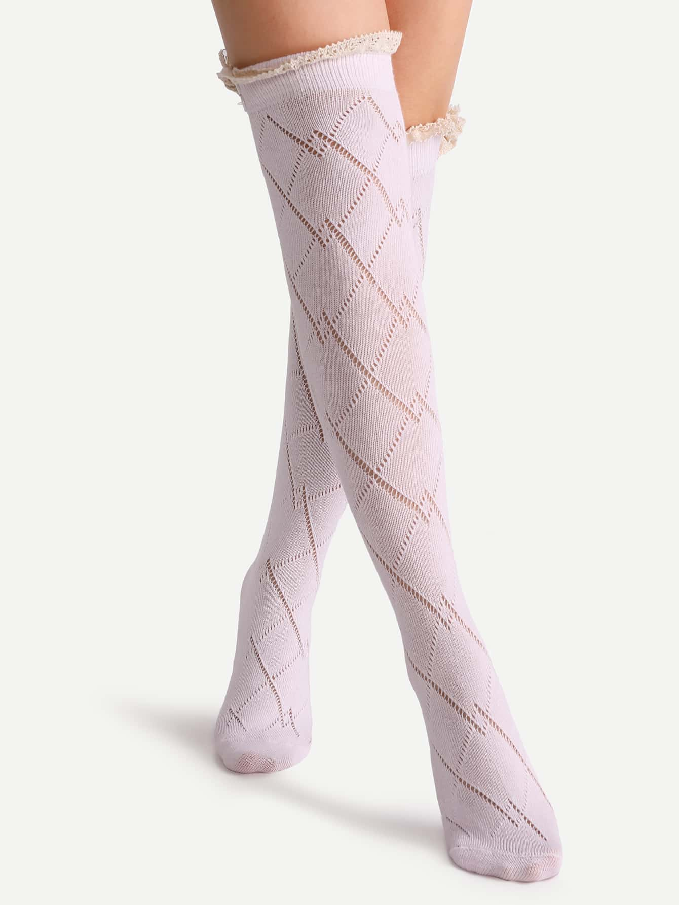 Pink Lace Button Hollow Out Knee High SocksPink Lace Button Hollow Out Knee High Socks<br><br>color: Pink<br>size: one-size