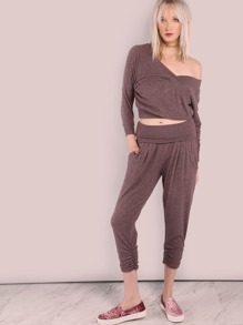 Scrunched Soft Knit Joggers RED BEAN