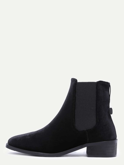 Black Velvet Point Toe Elastic Booties