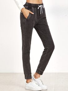 Black Distressed Denim Look Sweat Pants