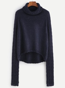 Navy Mixed Knit High Low Fleck Sweater