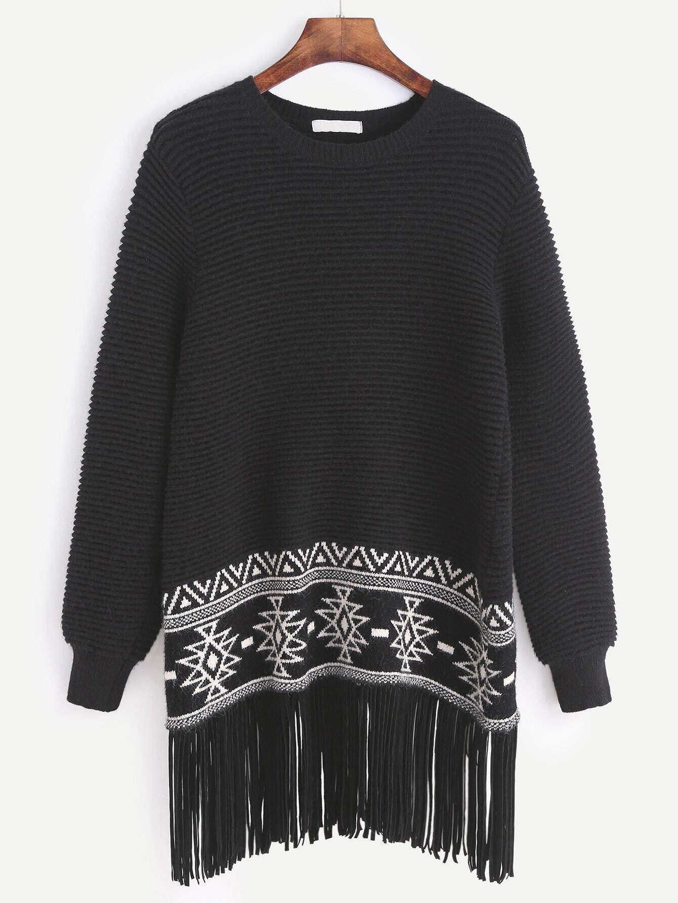 Black Ribbed Knit Tribal Pattern Fringe Sweater sweater161021463