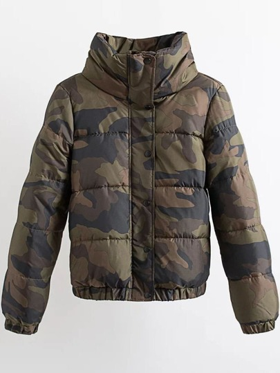 Army Green Letter Print High Collar Padded Camouflage Coat