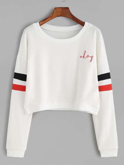Varsity Stripe Dropped Shoulders Crop Sweatshirt