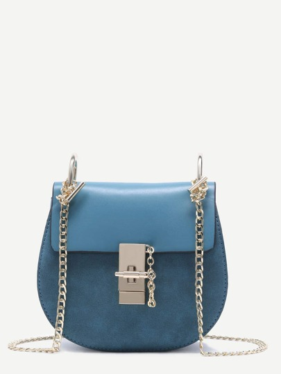 Blue PU Flap Saddle Bag With Chain