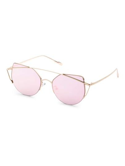 Metal Frame Double Bridge Pink Cat Eye Sunglasses