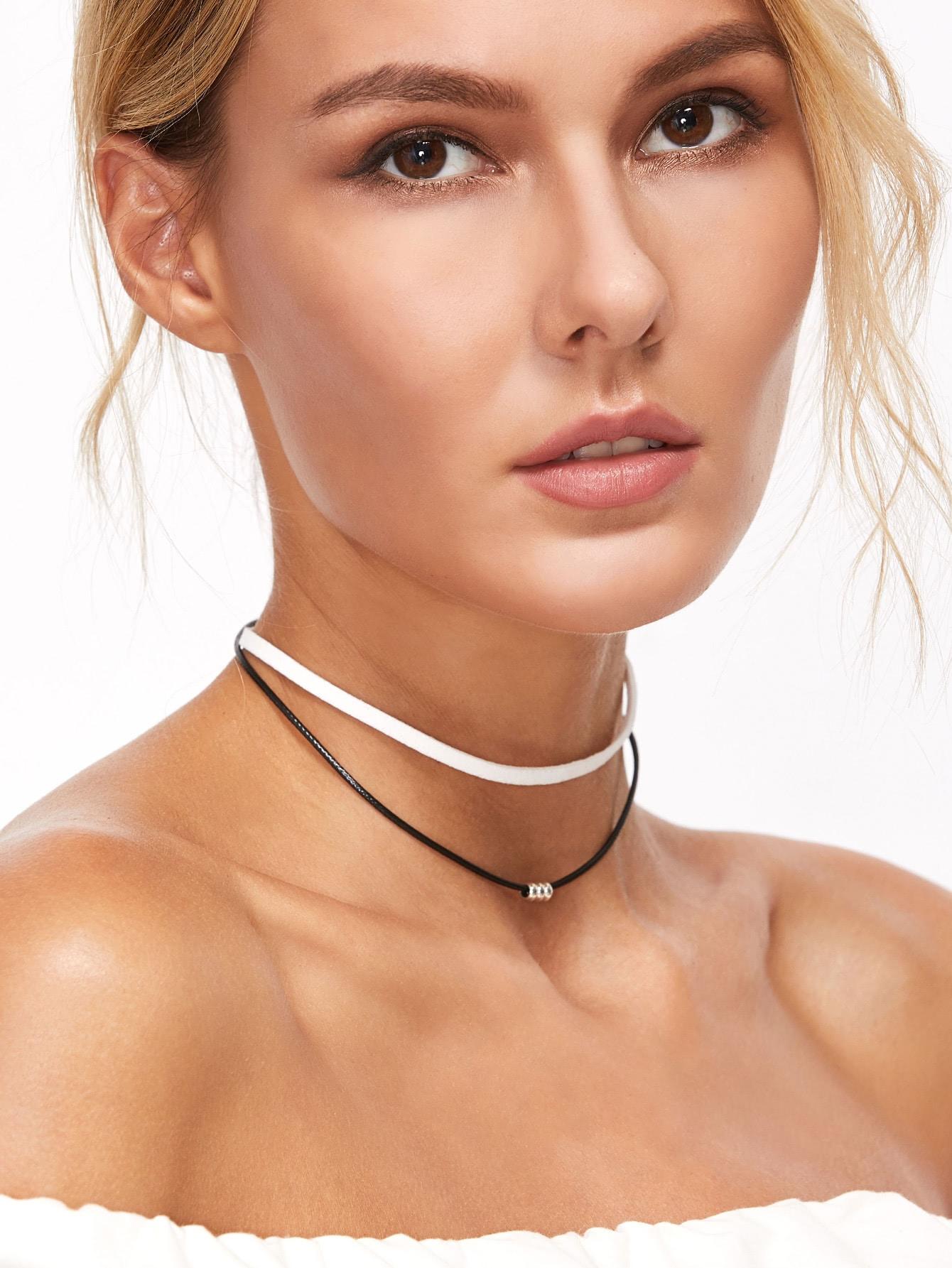 Фото Black And White Double Layered Beaded Choker Necklace. Купить с доставкой