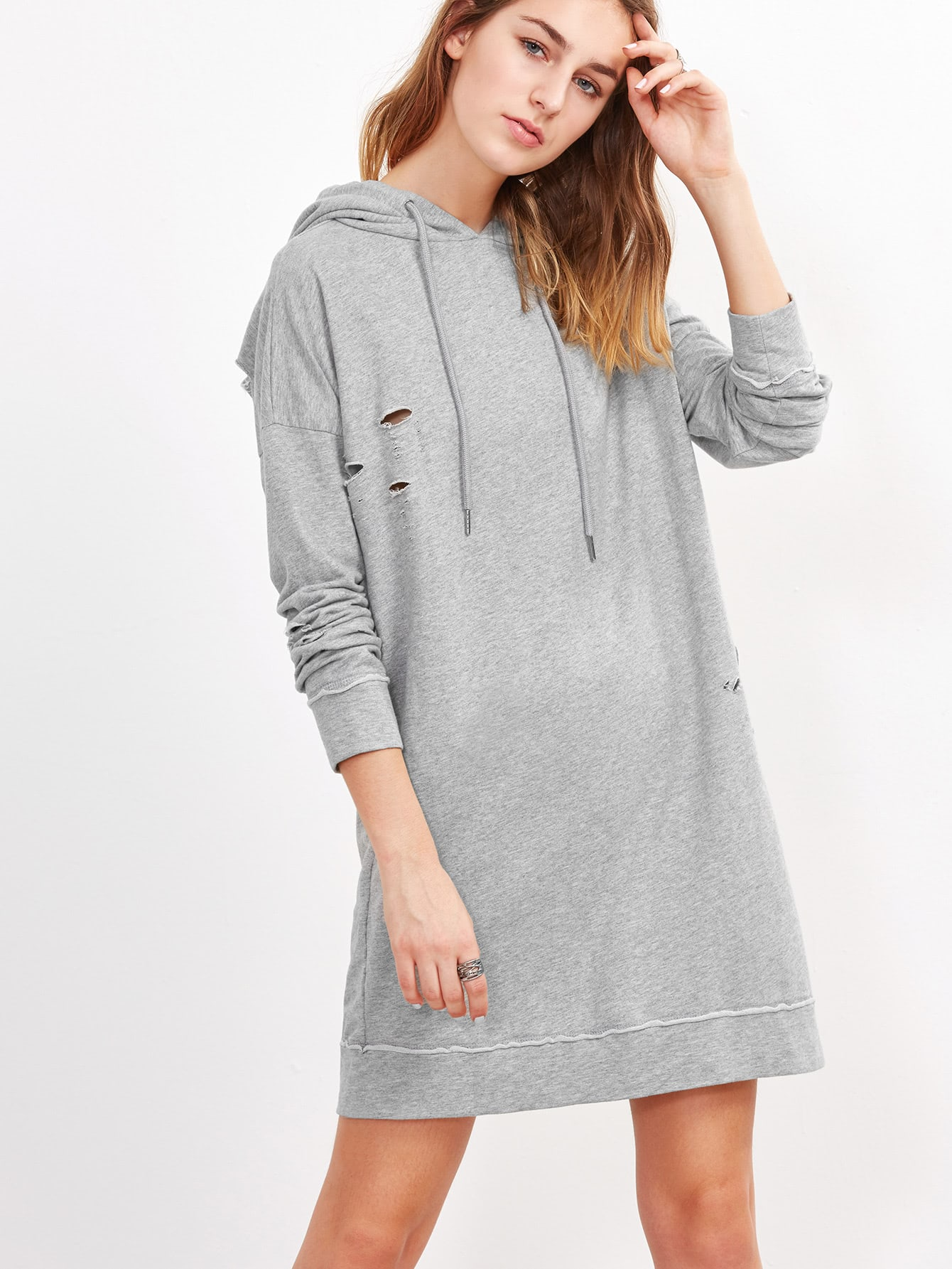Heather Grey Drop Shoulder Ripped Hoodie Dress rebecca tatti w15060175353