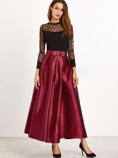 Bow Trim Pleated Longline Skirt