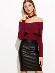 Burgundy Off The Shoulder Ruffle Bodysuit With Choker