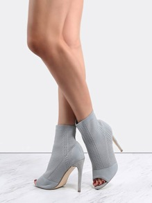 Stiletto Knit Ankle Booties GREY