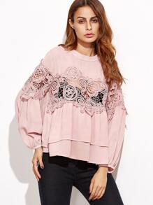 Pink Crochet Insert Keyhole Back Layered Blouse