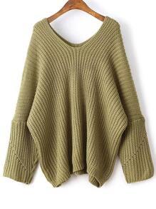 Army Green V Neck Drop Shoulder Oversized Sweater