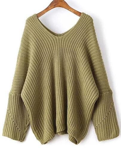 Army Green V Neck Drop Shoulder Oversized Sweater