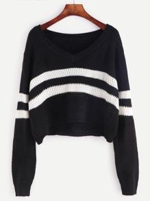Pull tricoté motif chevron à rayure - noir