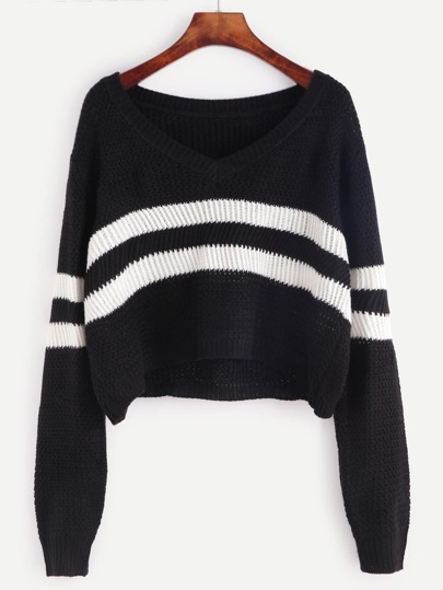 Striped Pattern Crop Sweater