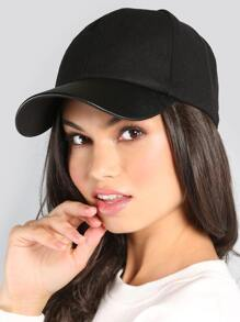Suede Leather Baseball Cap BLACK