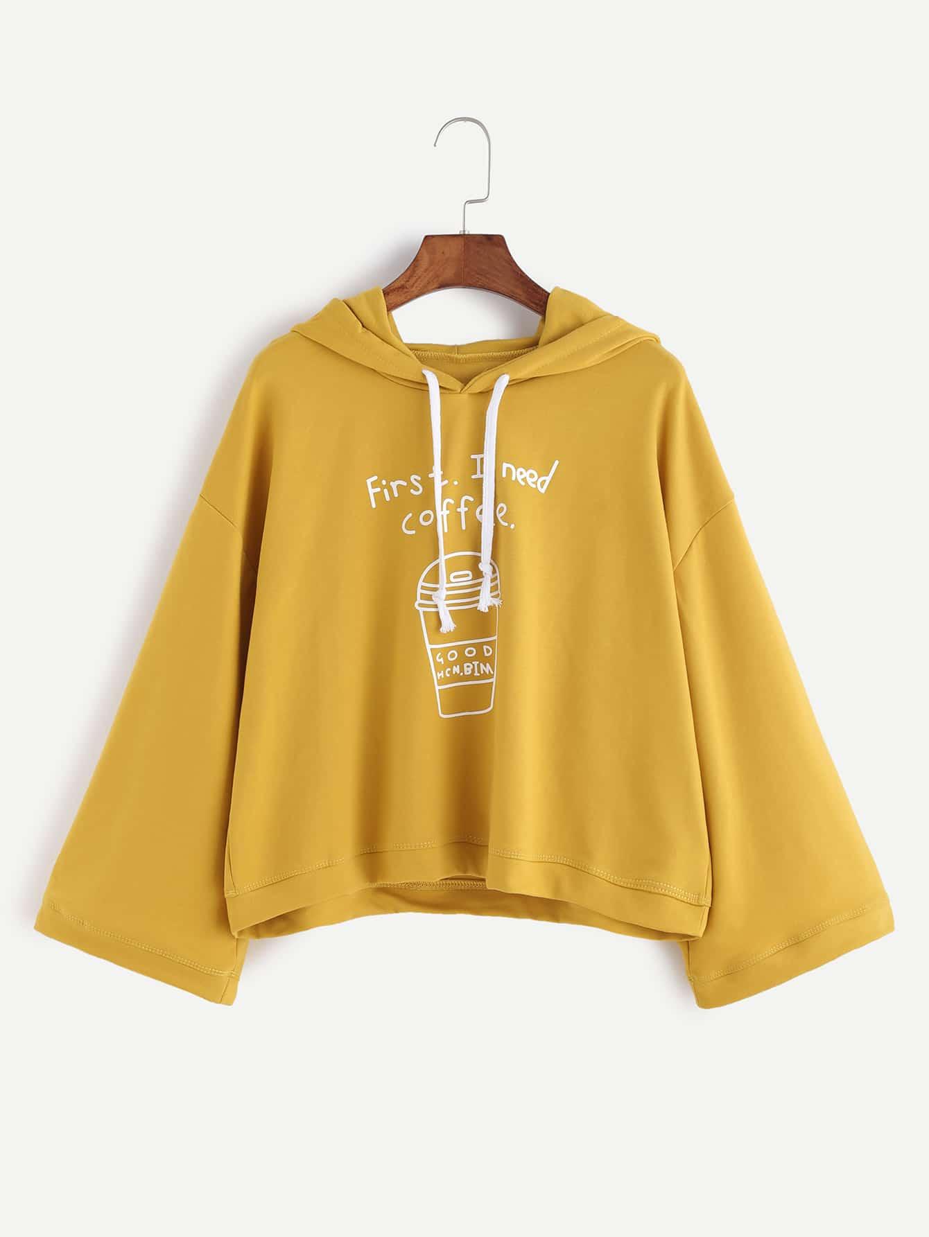 Купить Жёлтый свитшот с капюшоном с принтом стакана кофе, null, SheIn