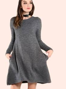 Sleeved Knit Pocket Dress CHARCOAL