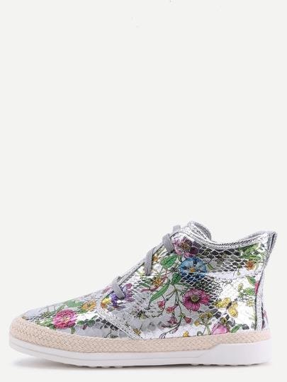 Silver Floral PU Snakeskin Espadrille Sneakers